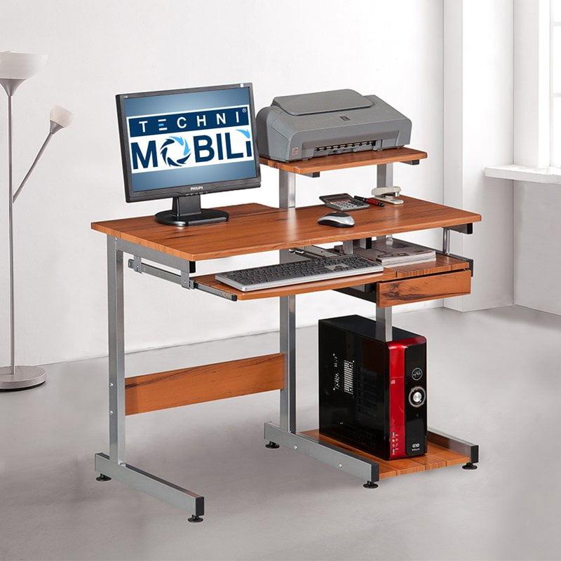 TECHNI MOBILI Conri Wood Computer Desk in Wood Grain