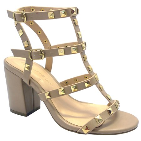 Wild Diva , Susie20 Women's Peep Toe Studded Strappy High Heel Leather Pumps Stilettos Sandals