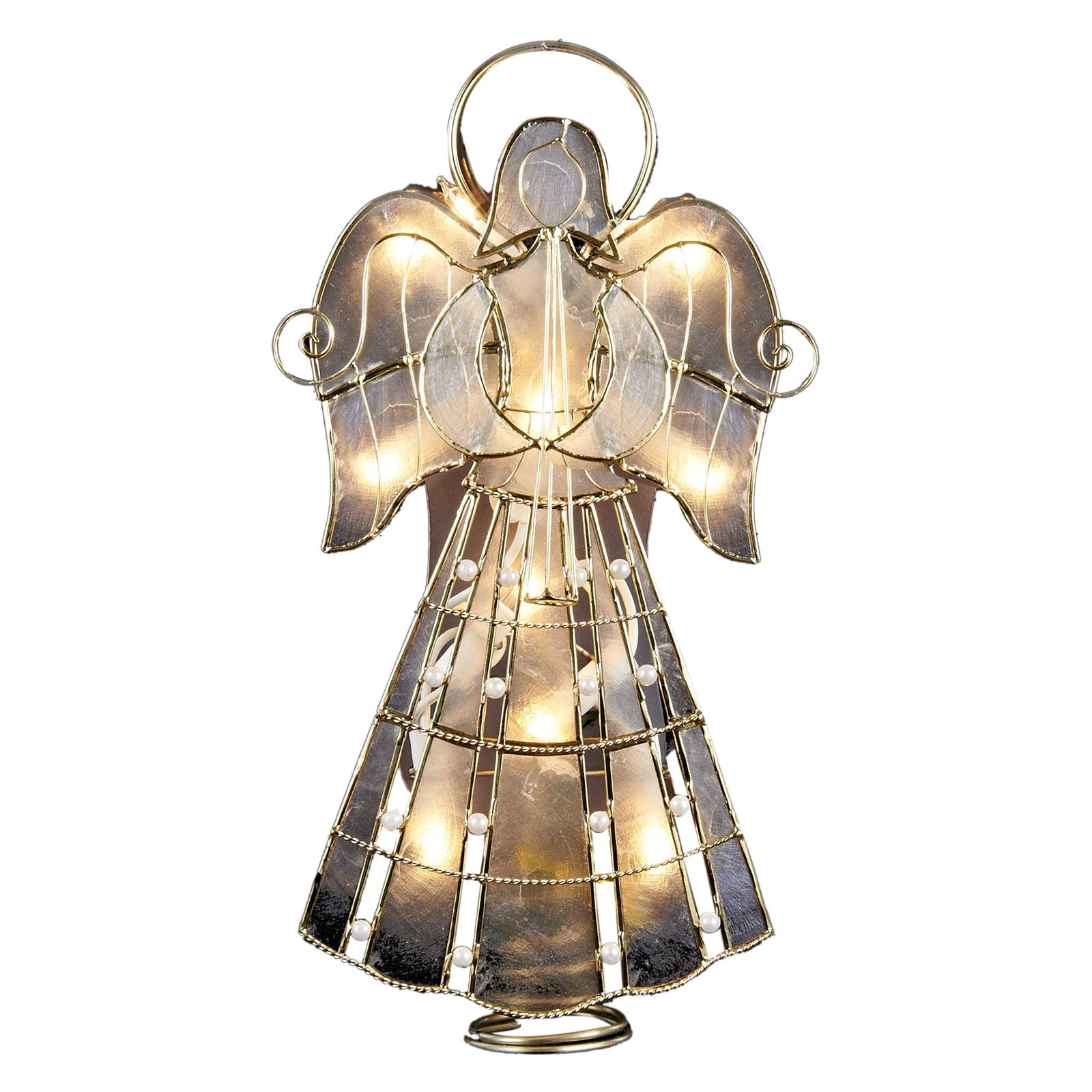 Kurt Adler 9.75 in. 10-Light Capiz Angel Tree Topper with Vines and Pearls