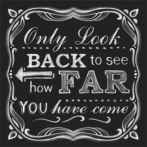 Look Back Distressed Chalkboard Inspirational Typography Black & White Canvas Art by Pied Piper Creative