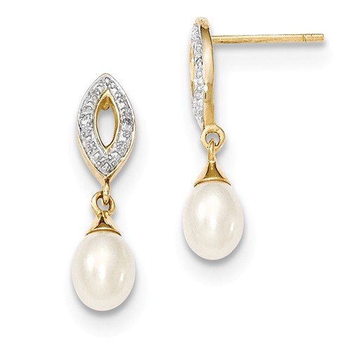 14k Yellow Gold 0.8IN Long Diamond and Freshwater Cultured Pearl Post Dangle Earrings