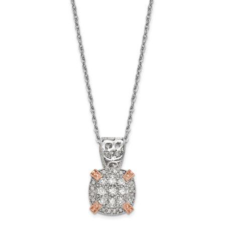 10K Tiara Collection Two Tone Rose   White Diamond Necklace