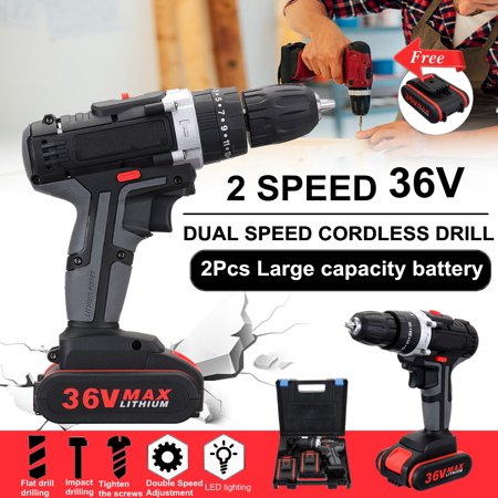 Cordless Drill Hammer,36V Drill Driver Double Speed Adjustment LED Lighting 2 Li-ion Battery with Battery Adjustment 0-450r/min, 0-1450r/min 28v Cordless Hammer Drill