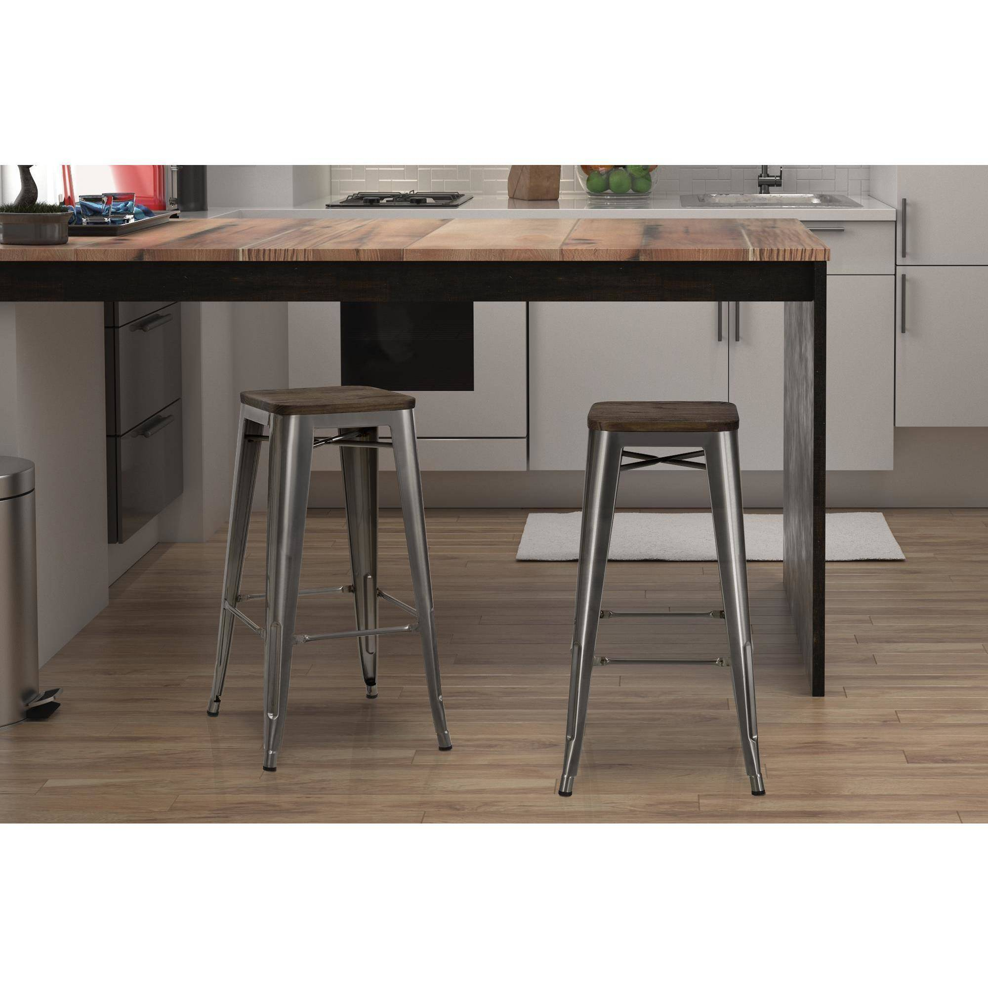 Dorel Home Products Fusion 30  Metal Backless Bar Stool with Wood Seat Set of  sc 1 st  Walmart & Dorel Home Products Fusion 30