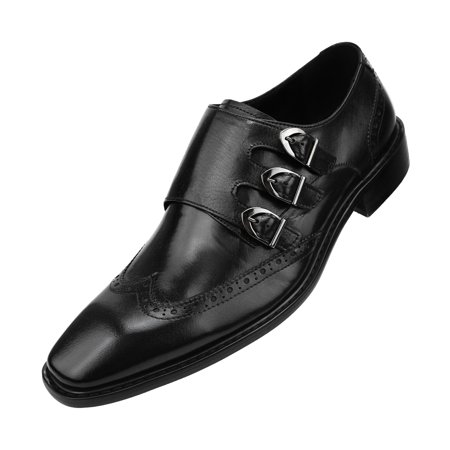 Asher Green Mens Genuine Two-Tone and Solid Leather Dress Shoes, Comfortable Triple Monk Strap Wingtip Oxfords Available in Tan and Black](dr martens black and white wingtip shoes)