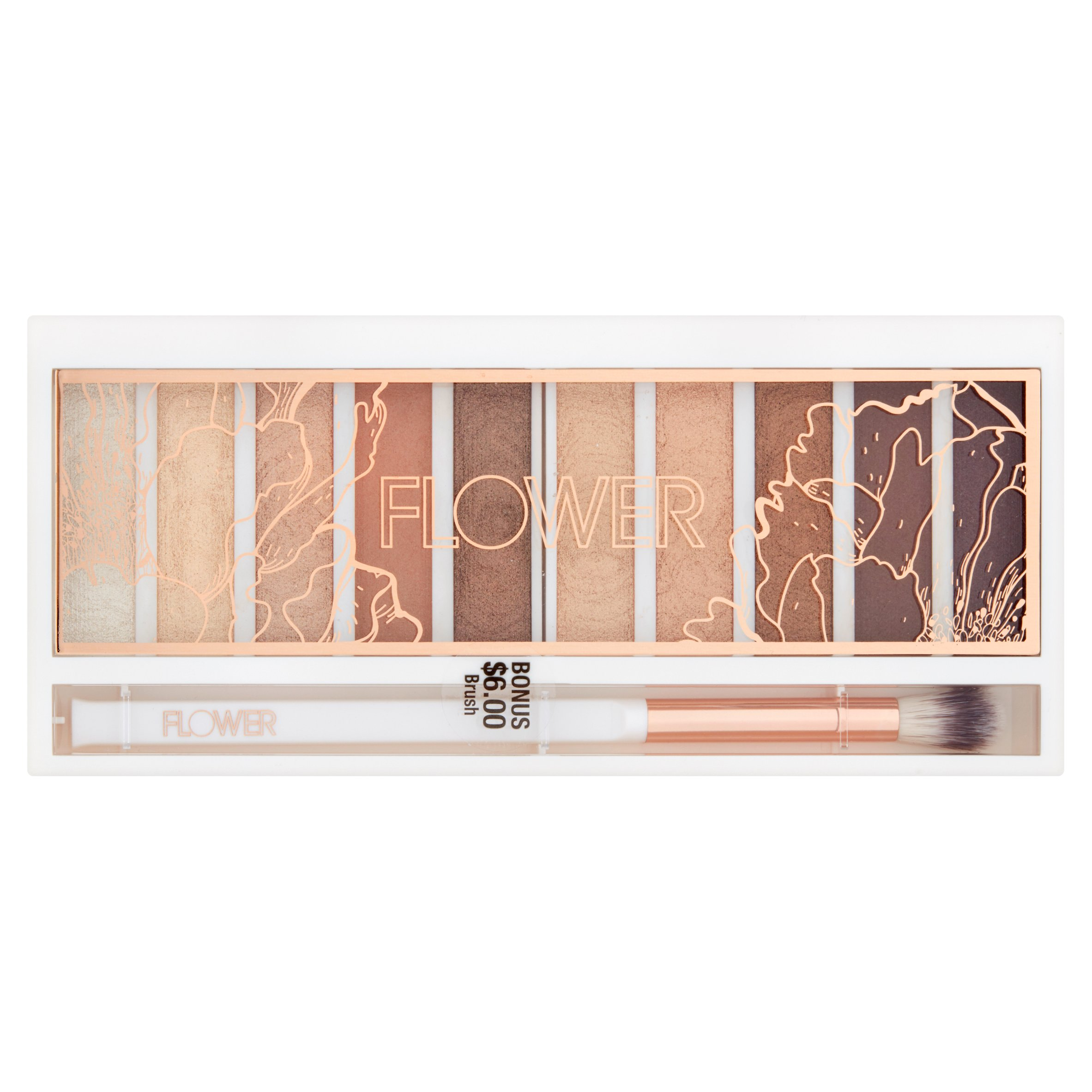 Flower Shimmer & Shade Eyeshadow Palette, ES3 Golden Natural