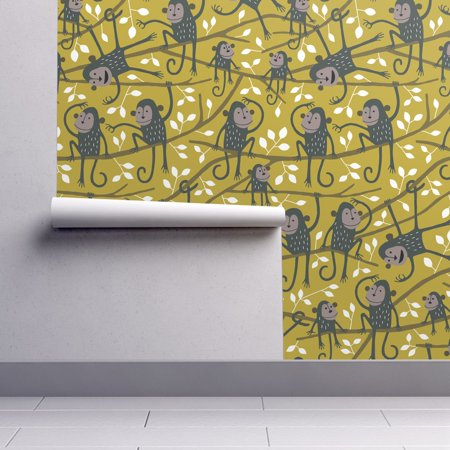Peel-and-Stick Removable Wallpaper Kids Kids Monkey Mustard Blue White Kids