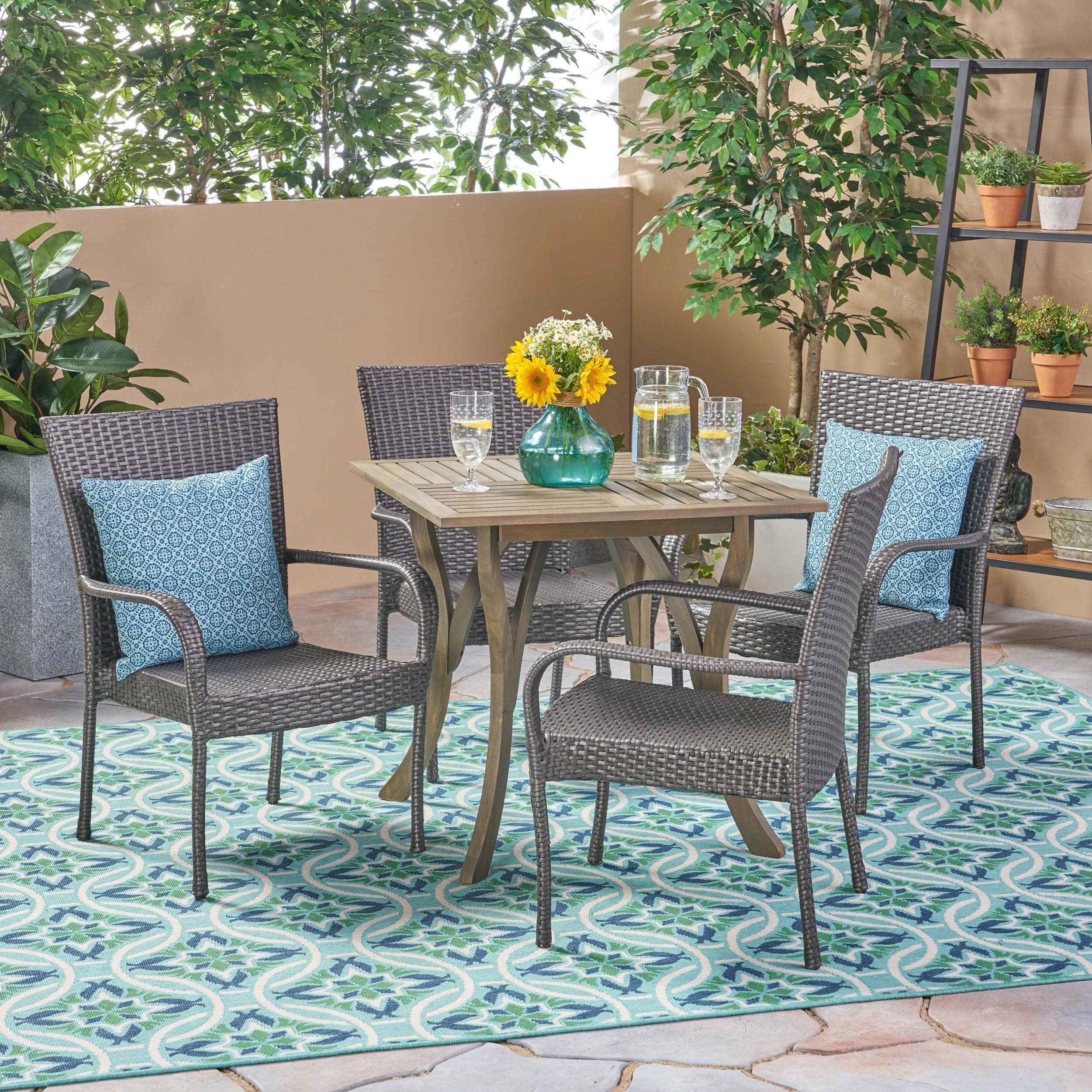 Christopher Knight Home Briar Outdoor 5-piece Acacia Wood/ Wicker Dining Set by