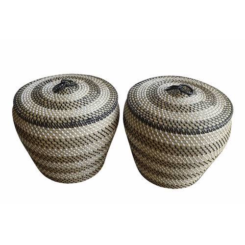 Baum Set of 2 Round Covered Seagrass Baskets, Natural/Black