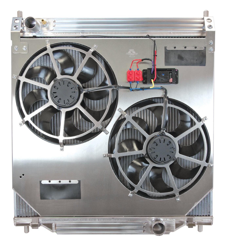 Flex-a-lite 59274 Direct-Fit Flex-A-Fit Radiator And Fan Package; Dual 1 in. Alum. Core; Dual 15 in. Electric Fan w/Variable Speed Controller/Clutch Fan Emulator;