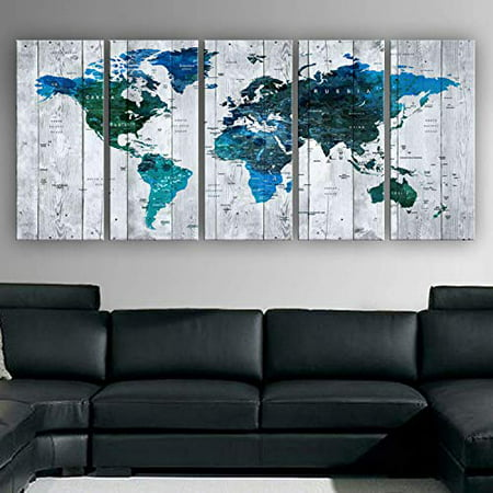 "Original by BoxColors Xlarge 30""x 70"" 5 Panels 30x14 Ea Art Canvas Print Watercolor Multi Color Map World Push Pin Travel Wall decor (framed 1.5"" depth) M1813"