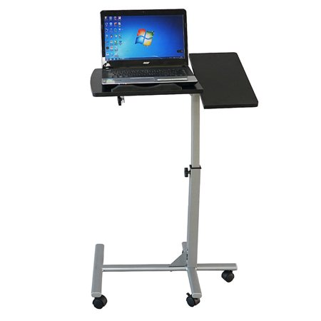 Zimtown Five-Wheel Rolling Laptop Tray Height Adjustable Presentation Cart With Wheels Computer Desk Black & Silver
