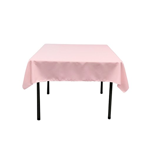 LA Linen Polyester Poplin Square Tablecloth, 52 by 52-Inch, Light Pink by LIVEDITOR LIGHTING