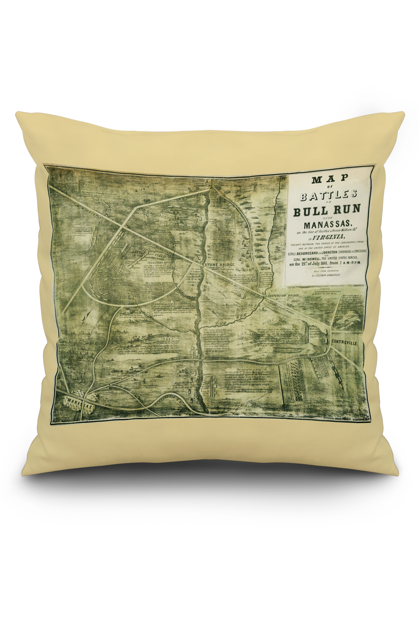 First Battle of Bull Run - Civil War Panoramic Map (16x16 Spun Polyester on