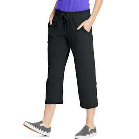 O4679 Womens French Terry Pocket Capri Pant, Black - Extra -