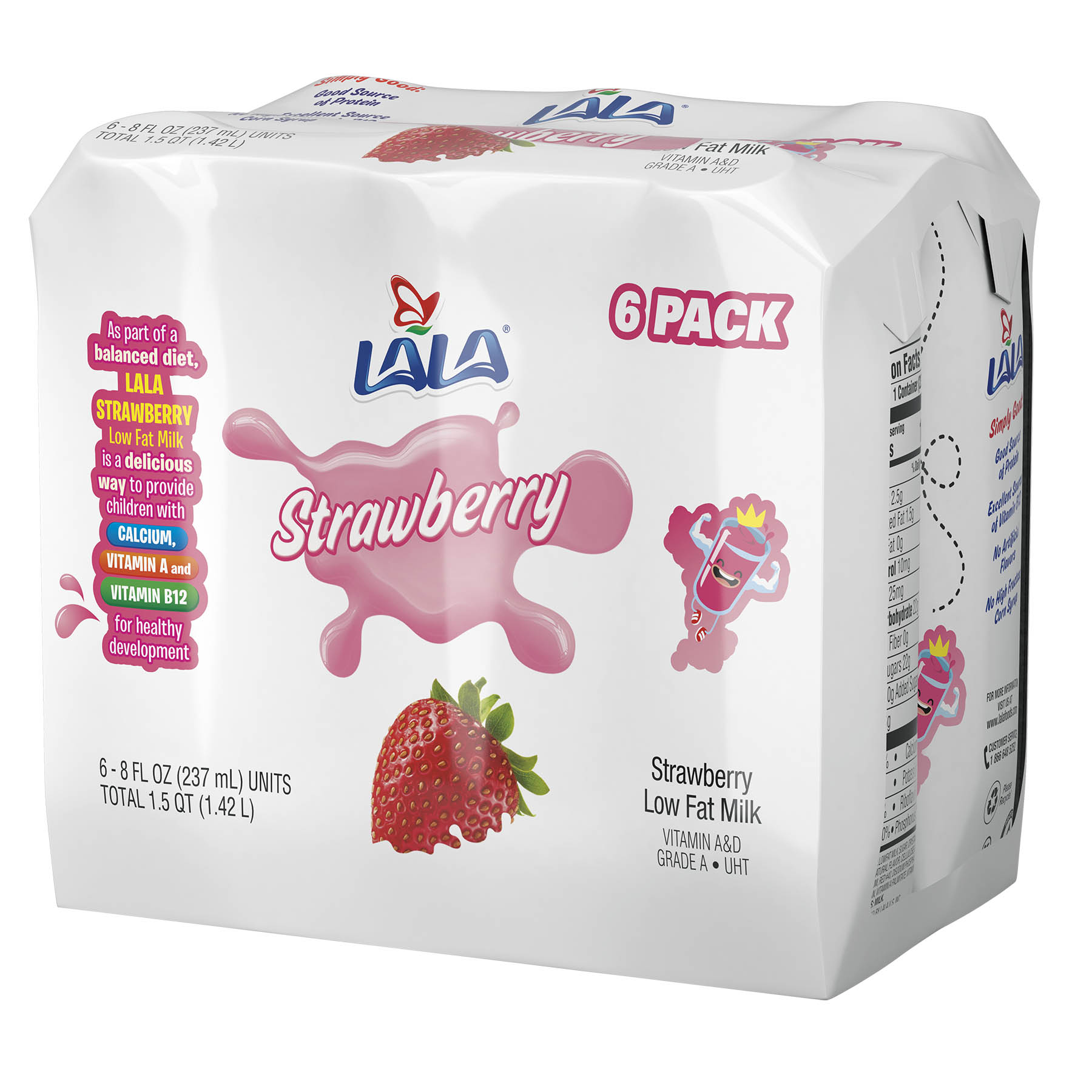 LALA UHT Strawberry Milk Drinks, Low Fat, Good Source of Calcium and Vitamin D, 8.25-ounce, 6 Pack