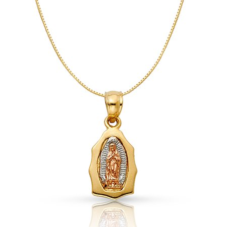 14K Tri Color Solid Gold Religious Our Lady of Guadalupe Charm Pendant with 0.6mm Box Chain Necklace