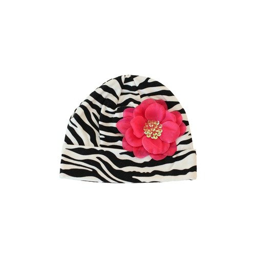 Lil Bowtique & Co Beanie Hat in Zebra with Hot Pink Peyton Flower