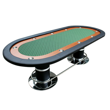 96 Inch Poker Table - Poker Table for 10 Players Oval 96 x 43 Inch Racetrack Cup Holders Green Speed Cloth Stainless Pedestal Leg By IDS Poker