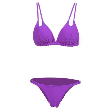 c307f2a9c7eb9 Women s Sexy Double Strap Push Up Padded Solid Bikini Set 2 Piece Swimwear  HFON