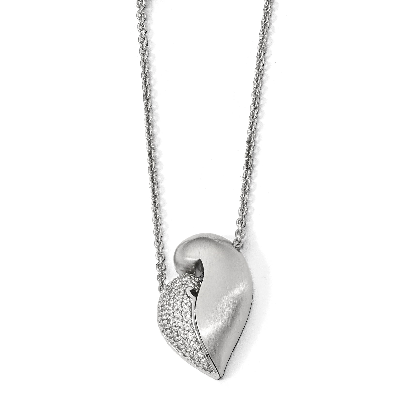 925 Sterling Silver Polished & Satin w Sapphire Magnetic Heart Adj Necklace by