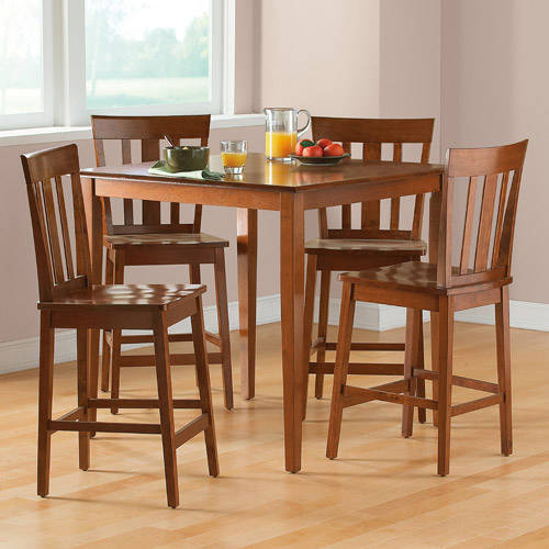 mainstays 5-piece counter-height dining set, cherry - walmart