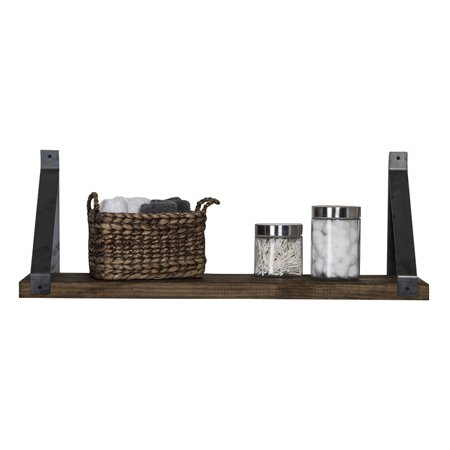 Industrial Grace Angled Bracket Shelf, Dark Walnut