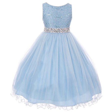 Little Girls Sleeveless Sequins Rhinestones Tulle Pageant Flower Girl Dress Ice Blue 4 (Rhinestone Flower Girl Pageant Dress)