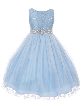 36c69f32e Product Image Little Girls Sleeveless Sequins Rhinestones Tulle Pageant Flower  Girl Dress Ice Blue 4 (M3B4K0)