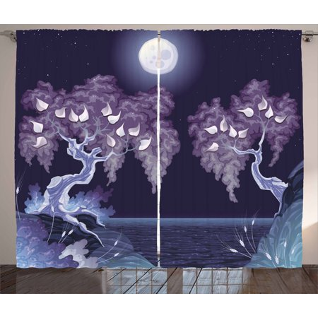 Full Overlay Panels - Nature Curtains 2 Panels Set, Bright Full Moon by the Lake Magical Night Dramatic Hazy Spooky Background Mystic Scene, Window Drapes for Living Room Bedroom, 108W X 90L Inches, Purple, by Ambesonne