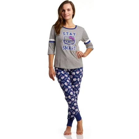 Hello Kitty Varsity Hello Kitty Stay Smart Pajama Set, Heather Gray, Small (Hello Kitty Gift Wrap)