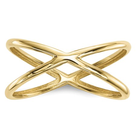 14k Yellow Gold Double Band Ring Size 7.00 - Gold Metal Fashion Ring