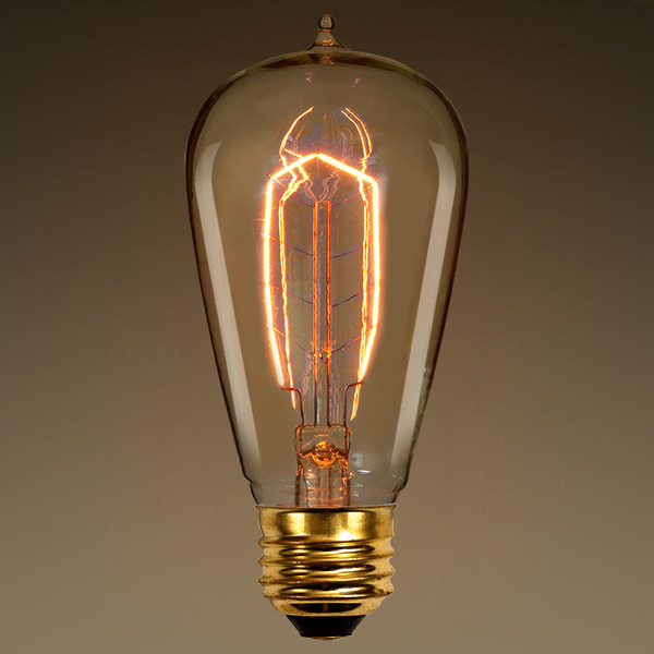 Edison Bulb, 40 Watt, 5.25 in. Length, Vintage Light Bulb, Hairpin Filament, 1900 Reproduction