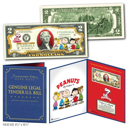 PEANUTS - Charlie Brown & Gang Genuine U.S. $2 Bill in 8x10 Collectors Display Collectors Display Base