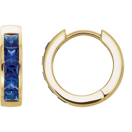 14k Yellow Gold Gem Quality Chatham® Created Blue Sapphire Channel Set Hoop Earring (Best Quality Yellow Sapphire Gemstone)