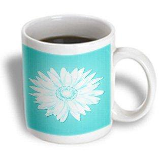 3dRose One Simple Pretty White Daisy On A Turquoise Background, Ceramic Mug, 11-ounce