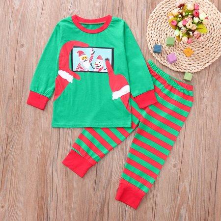 Kids Baby Boy Girl Santa Striped Tops Pants Family Pajamas Christmas ... f0d16578b