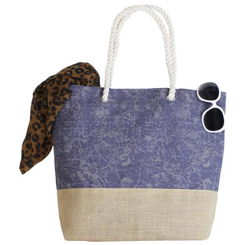 Goodhope Blue Canvas/ Jute Shopper/ Beach Tote