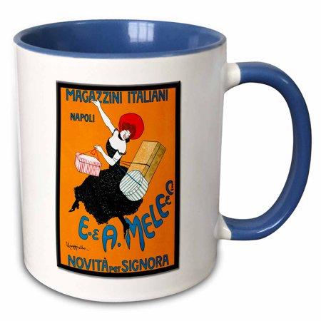 3dRose Vintage Art Nouveau Magazzini Italiani Napoli Poster - Two Tone Blue Mug, (Napoli Mug)
