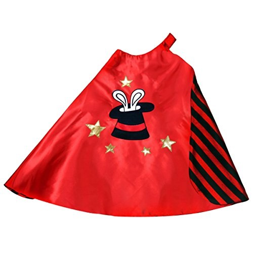 Storybook Wishes Reversible Red and Black Striped Magician Cape with Top Hat Embroidery