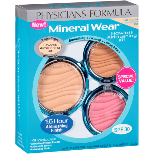 Physicians Formula Mineral Wear Flawless Airbrushing Kit, Medium, 3 pc