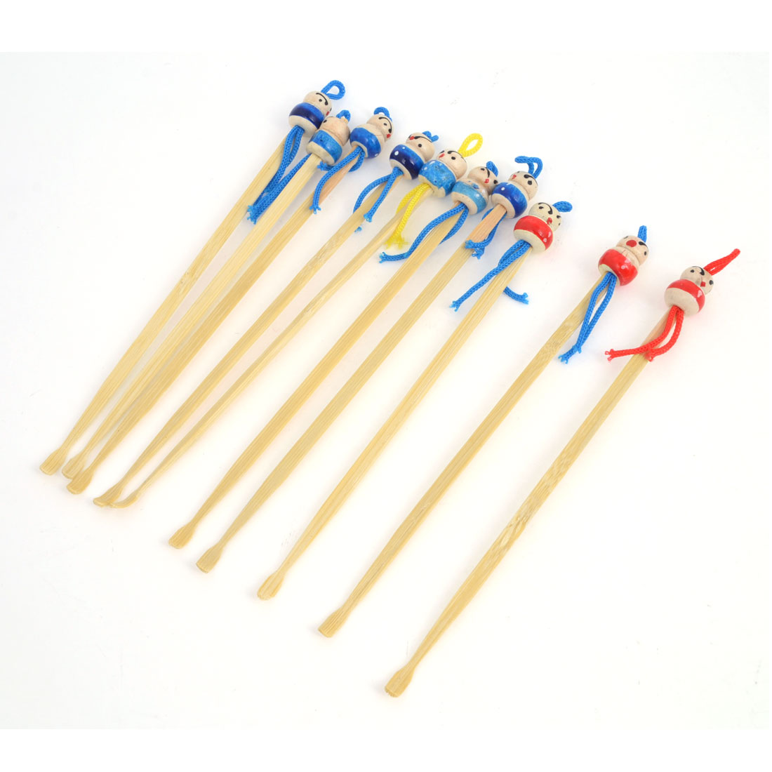 Unique Bargains Bamboo Ear Pick Spoon Curette Ear Wax Remover Cartoon Doll Decor 10 Pcs