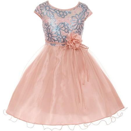 Wedding Dress Cap - Little Girls Elegant Cap Sleeve Sequin Pageant Easter Wedding Flower Girl Dress Blush 4 (2J1K1S6)