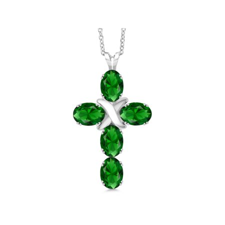 - 3.40 Ct Oval Green Simulated Emerald 925 Sterling Silver Pendant With Chain