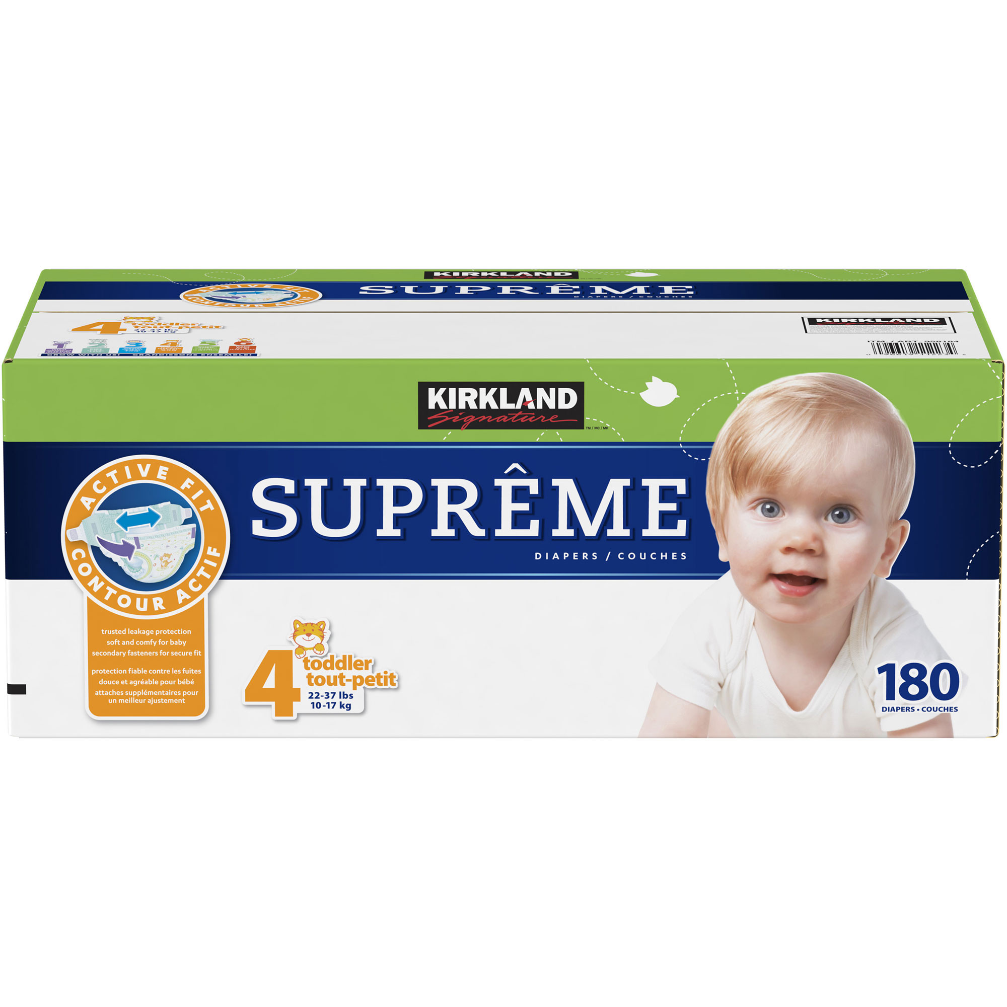 Kirkland Signature Supreme Diapers Size 4; 180-count