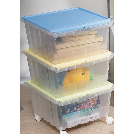 Three Stackable See Through Storage Bins with hinged lids Hinged Storage Container