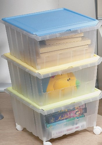 three stackable see through storage bins with hinged lids