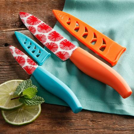 The Pioneer Woman Flea Market 4-Piece Geo Decal Ceramic Blade Cutlery Set, Multi-Color