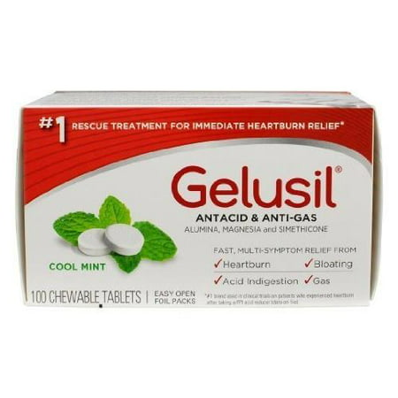 4 Pack Gelusil Antacid & Anti-Gas Cool Mint Chewable Tablets 100 Tabs Each