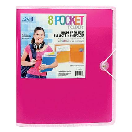 8 Pocket Folder - Pink
